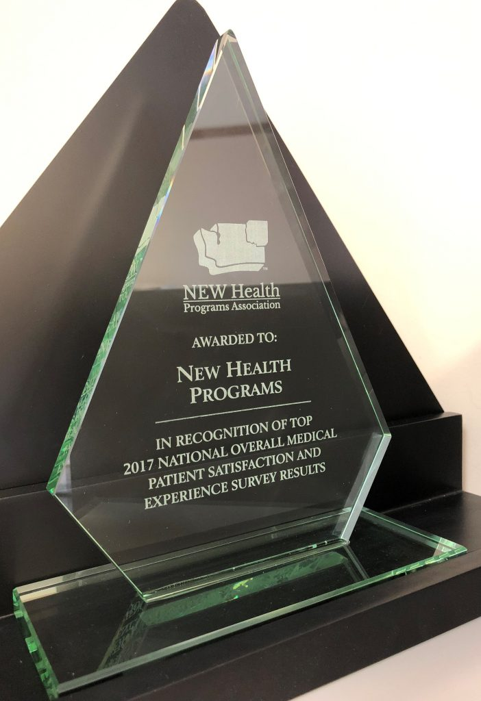 Crossroads Top 2017 National Overall Medical Patient Satisfaction award. Awarded to New Health Programs. In recognition of Top 2017 National Overall Medical Patient Satisfaction and Experience survey Results.
