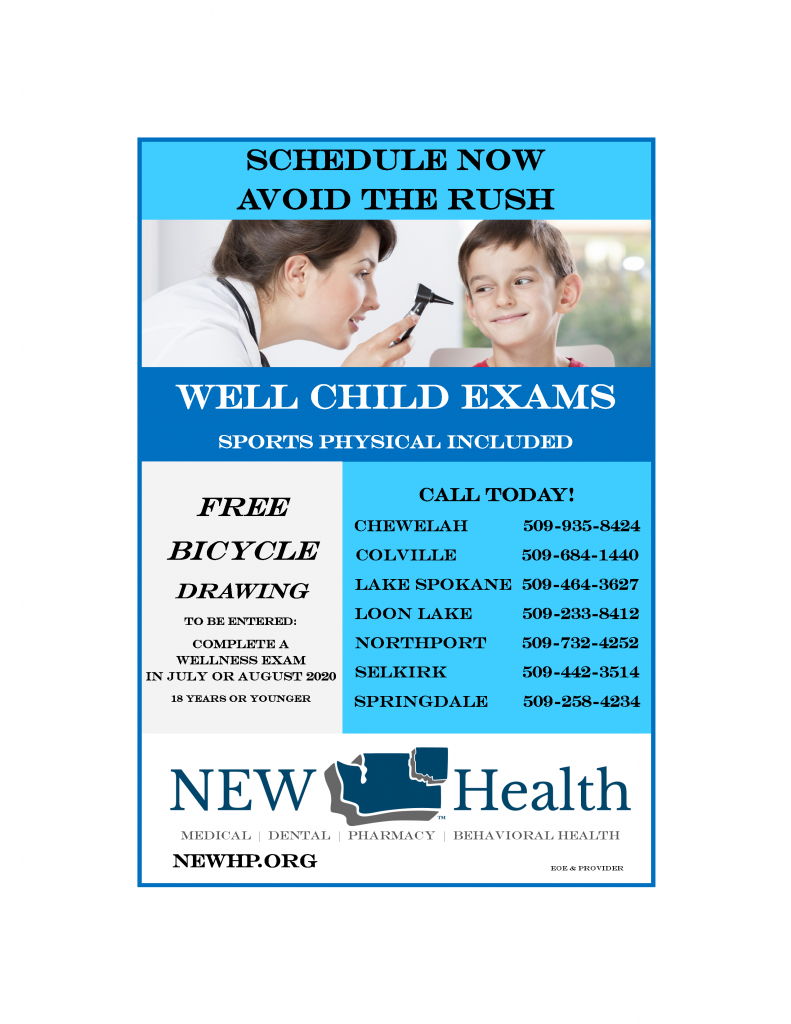 Well child exams ad 5.5 x 8in July-August 2020