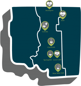 Map of NEW Health medical and dental clinic locations in Washington